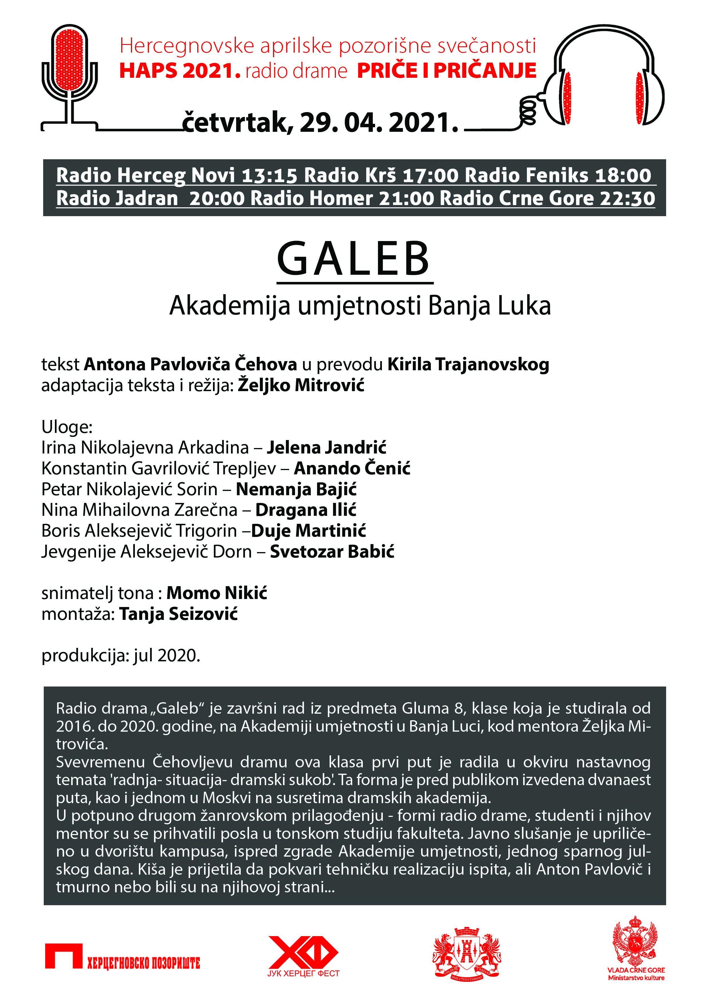 """Radio drama """"Galeb"""" četvrtak 29. aprila 2021. godine"""